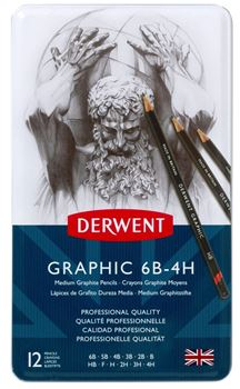 Picture of DERWENT GRAPHIC MEDIUM 12'S 6B-4H