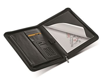 Picture of FOLIO A4 METROPOL ZIPPED WITH CALCULATOR BLACK