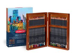 Picture of DERWENT PROCOLOUR WOODEN BOX SET 24