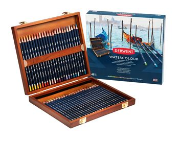 Picture of DERWENT WATERCOLOUR PENCILS WOODEN BOX 48 SET