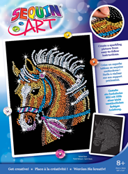 Picture of SEQUIN ART HORSE-BLUE BOX
