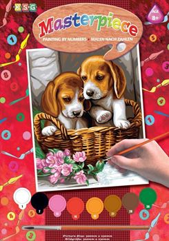 Picture of PAINT BY NO.JUNIOR BASKET OF PUPPIES