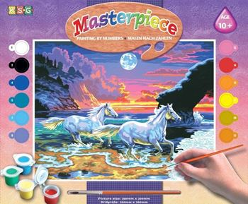 Picture of PAINT BY NUMBERS SENIOR HORSES IN THE SURF