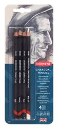 Picture of DERWENT CHARCOAL PENCILS BLISTER PACK OF 4
